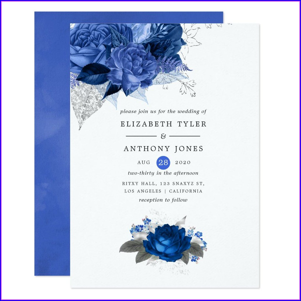 Royal Blue Floral Wedding Invitations