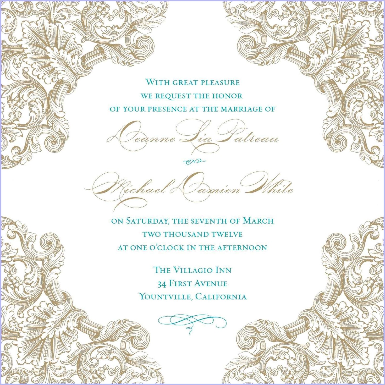 Royal Blue Wedding Invitation Templates Blank