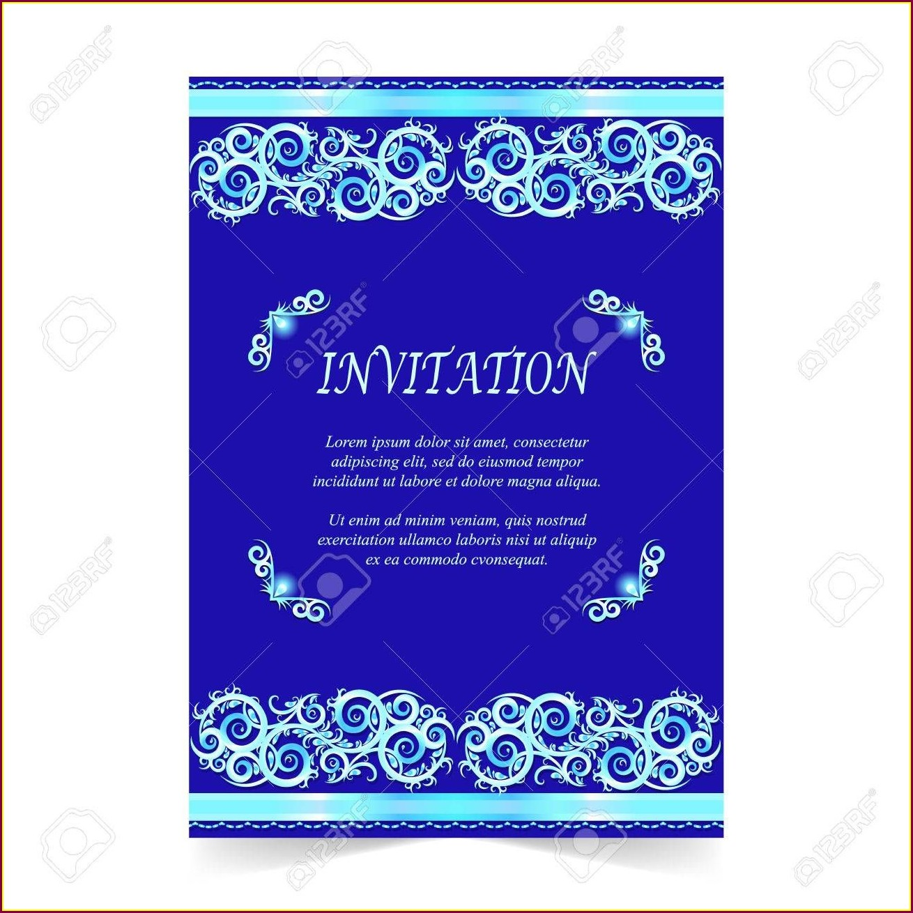 Royal Blue Wedding Invitations Background Design