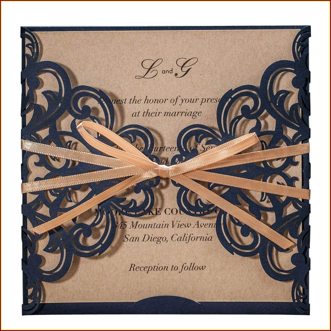 Rustic Navy Blue Wedding Invitations