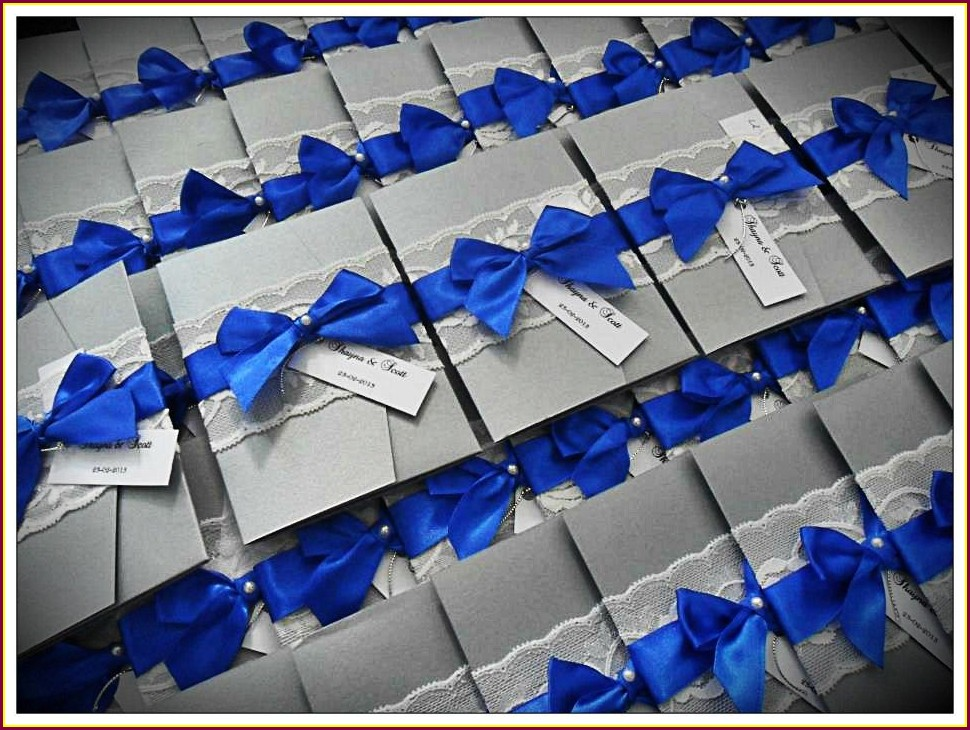Silver And Royal Blue Wedding Invitations