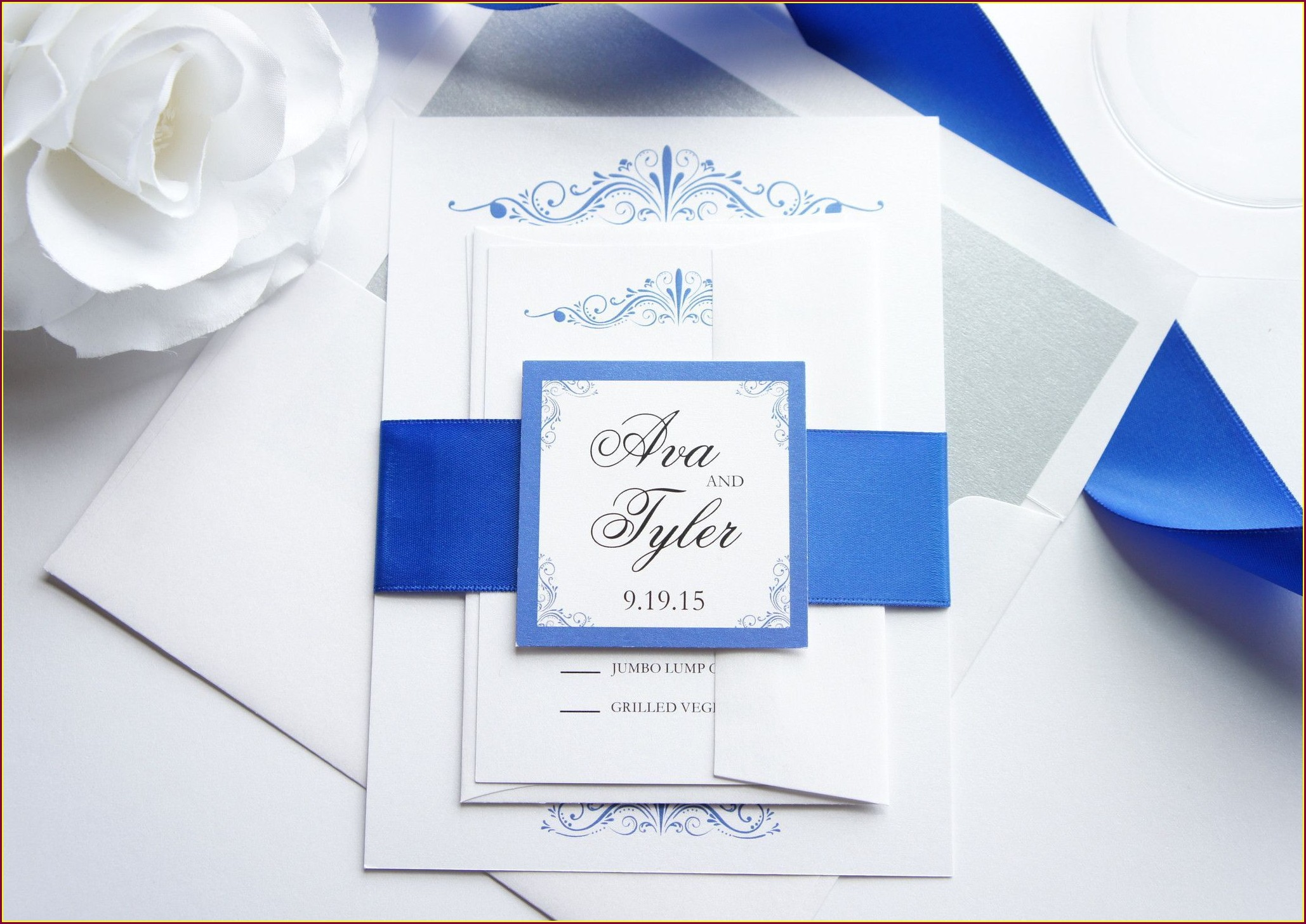 Simple Royal Blue Wedding Invitations
