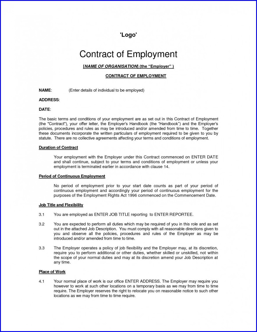 Staff Contracts Template Uk