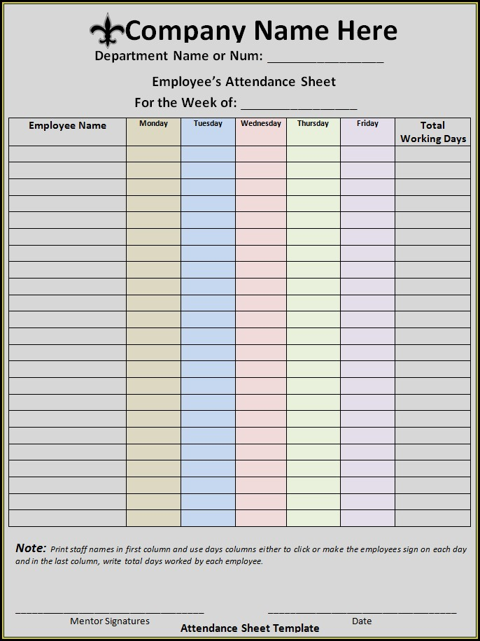 Staff Meeting Attendance Sheet Template