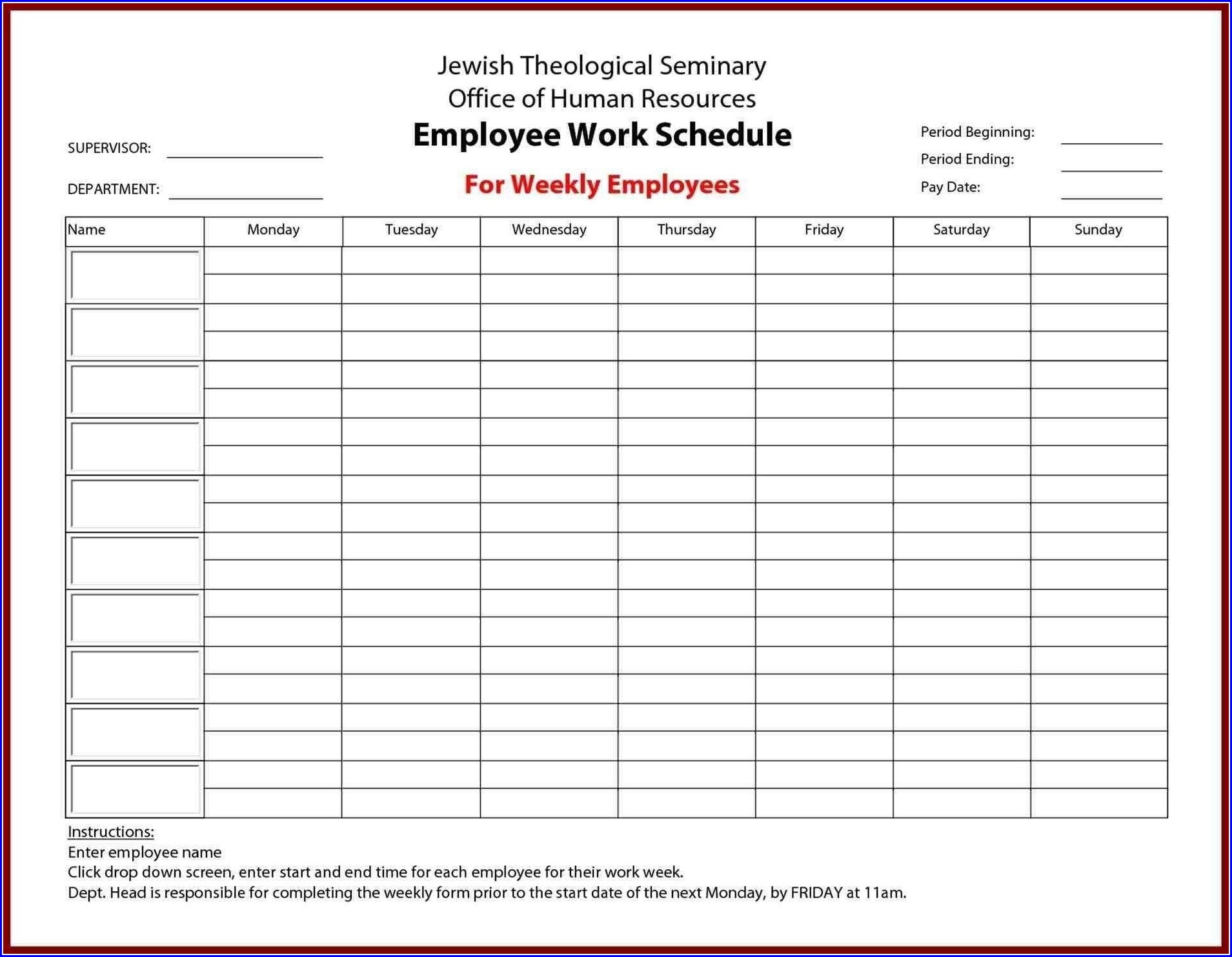 Staffing Schedule Weekly Work Schedule Template