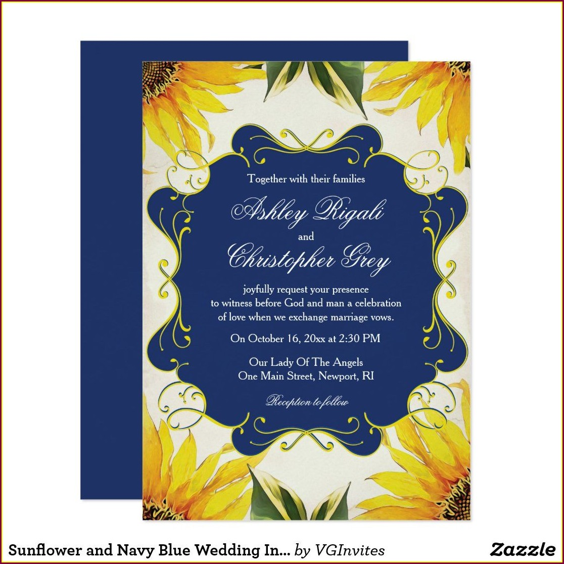 Sunflower And Navy Blue Wedding Invitations
