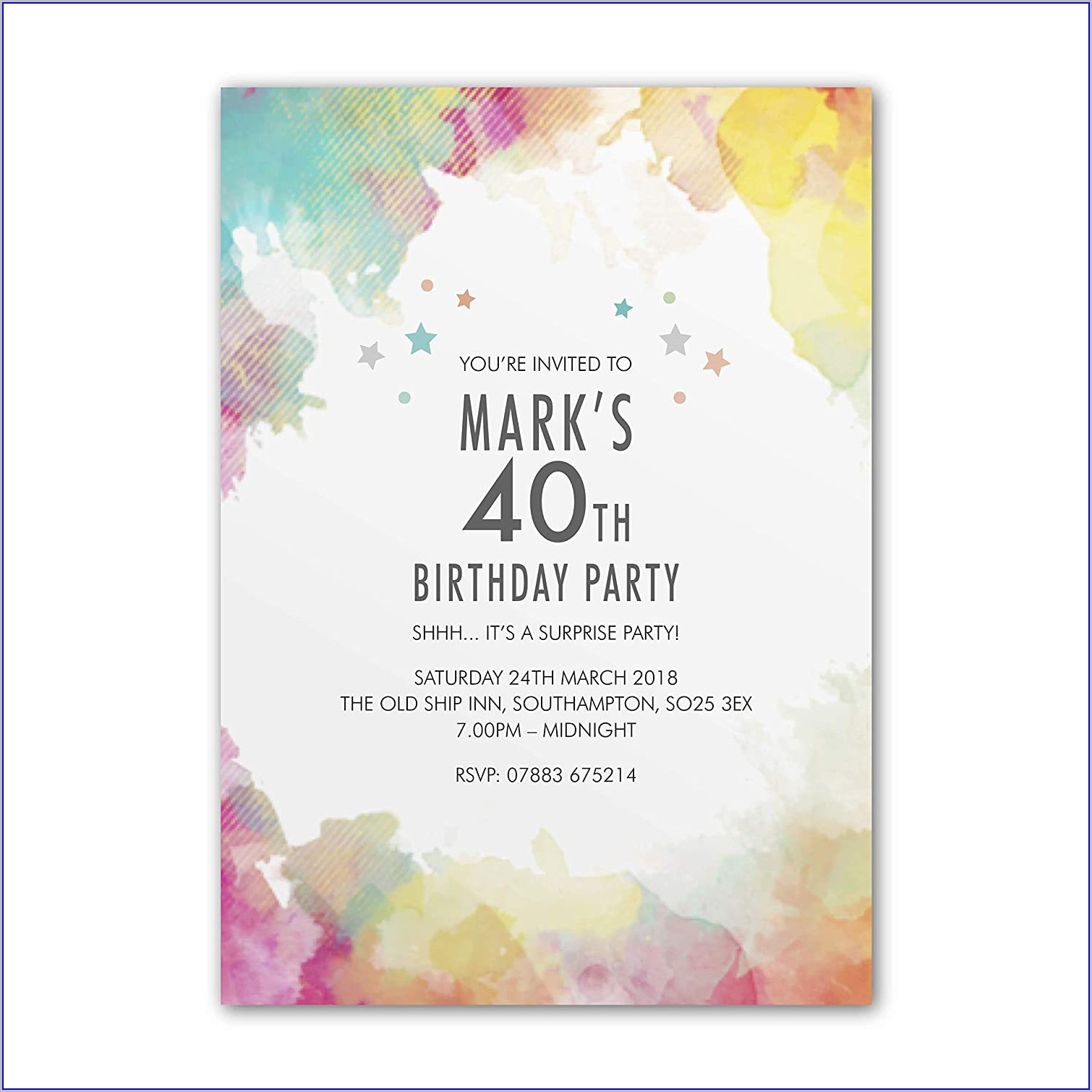 Surprise 40th Birthday Invitations For Men