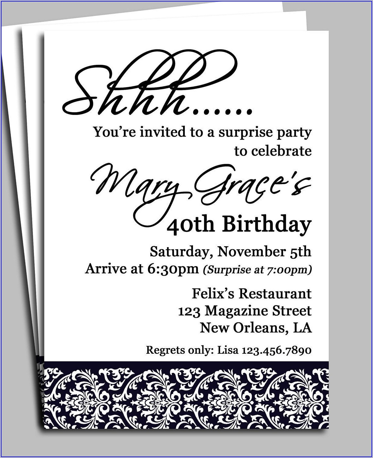 Surprise Birthday Free Birthday Invitation Templates For Adults