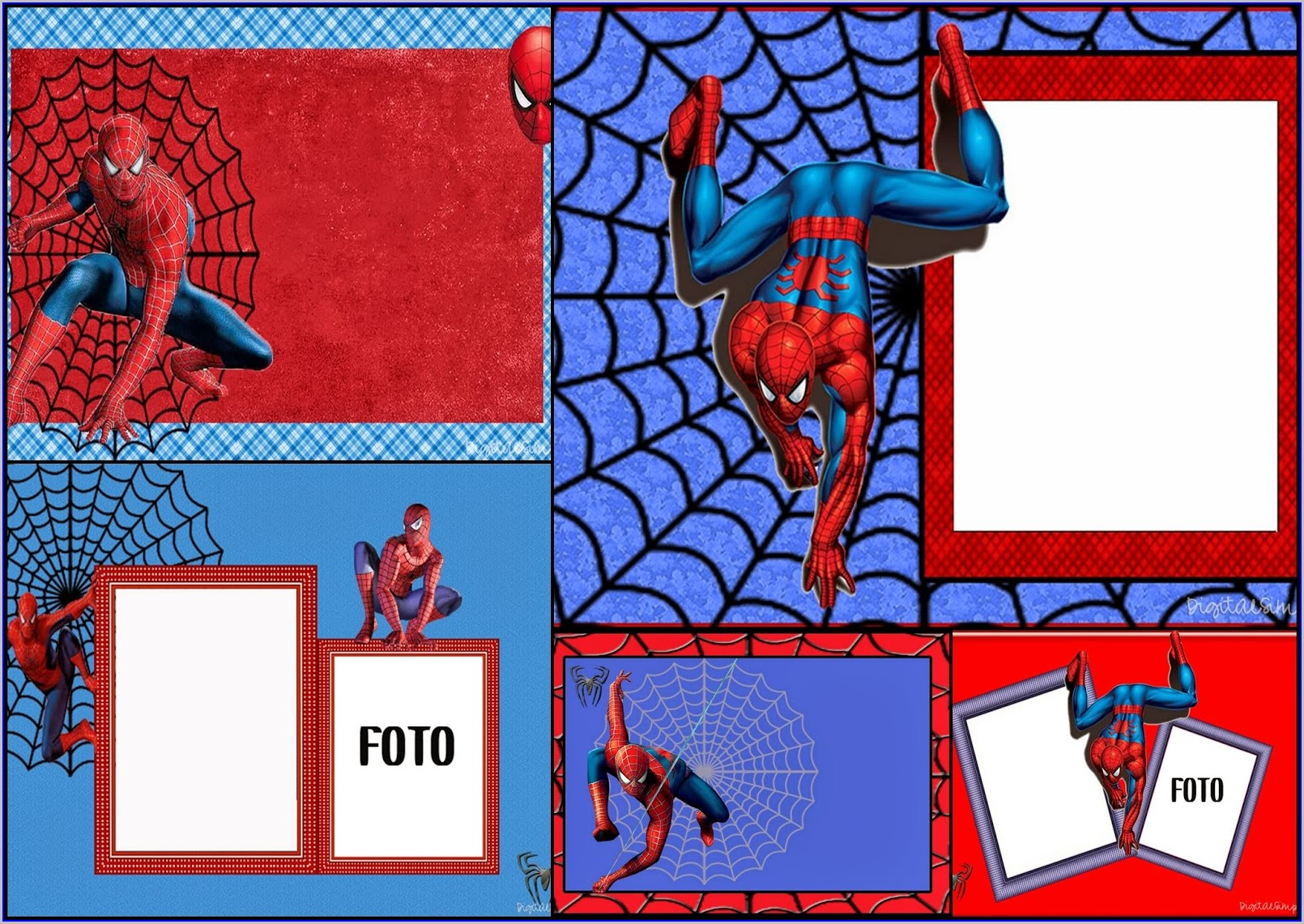 Tarpaulin Blank Free Editable Spiderman Birthday Invitation Templates