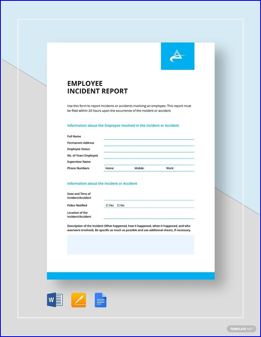 Template Employee Template Incident Report Sample