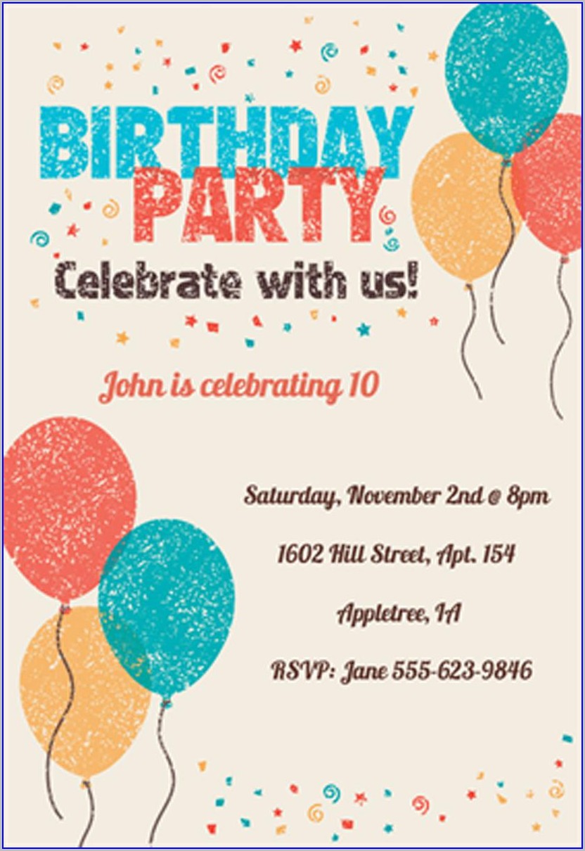 Template Free Printable Birthday Invitations For Kids