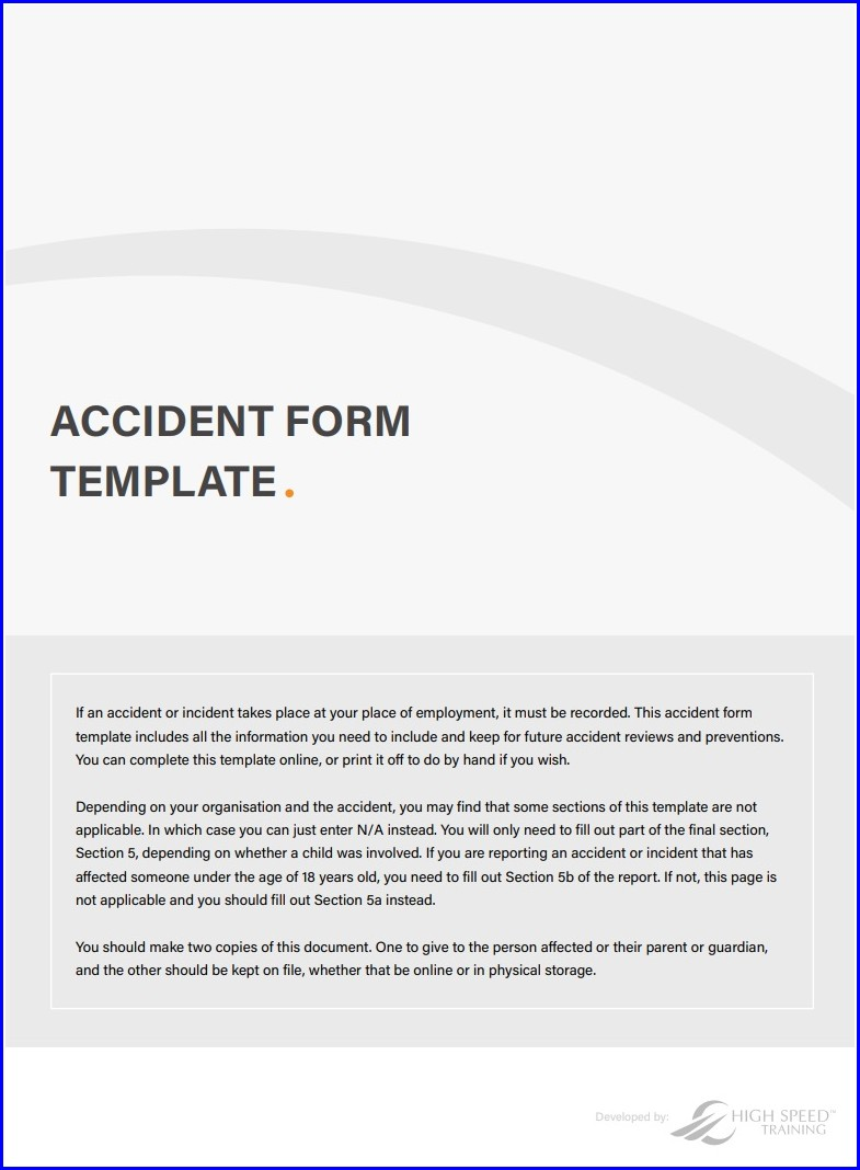 Template Free Printable Workplace Accident Report Form