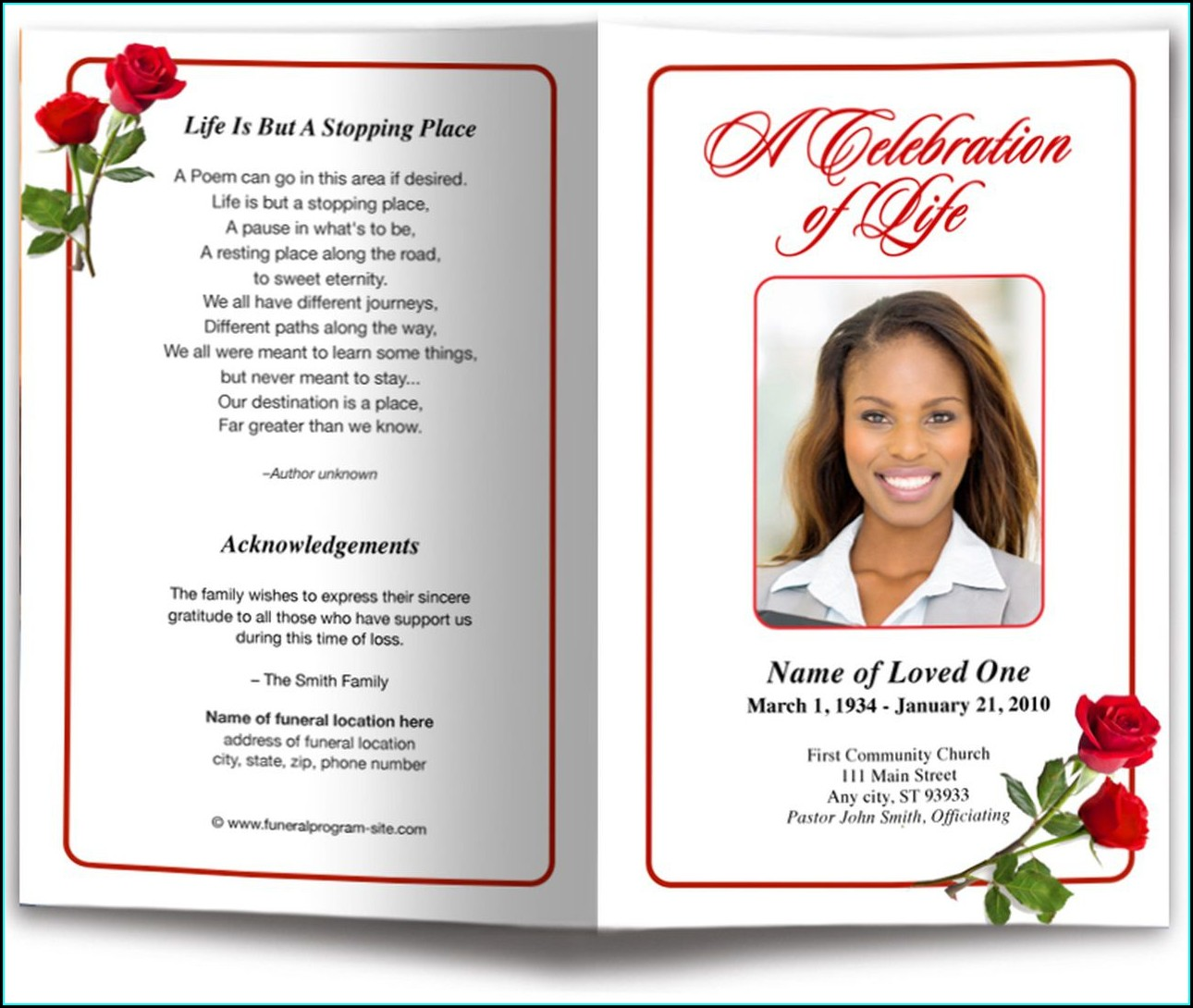 Template Microsoft Word Free Blank Funeral Program Templates
