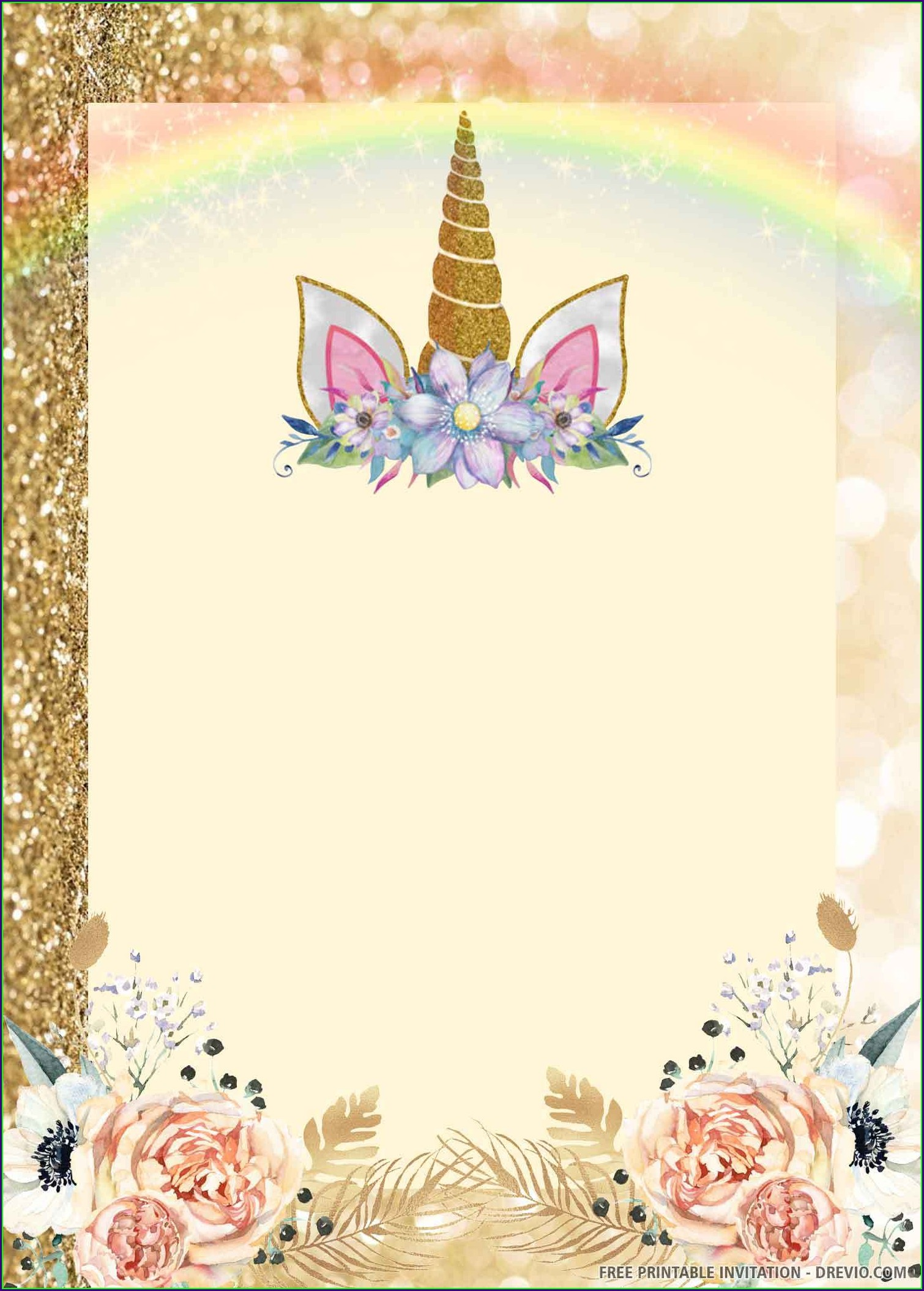 Template Printable Unicorn Invitation Card