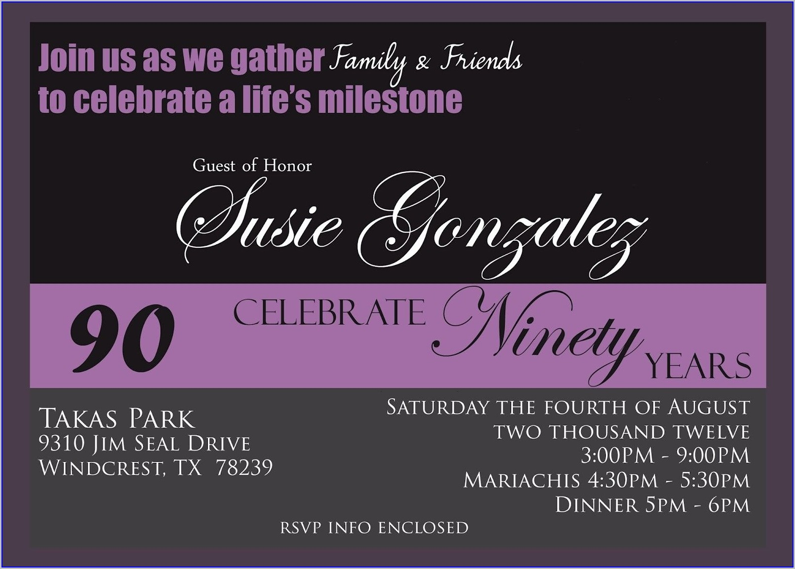 Templates Free Printable Free 90th Birthday Invitations