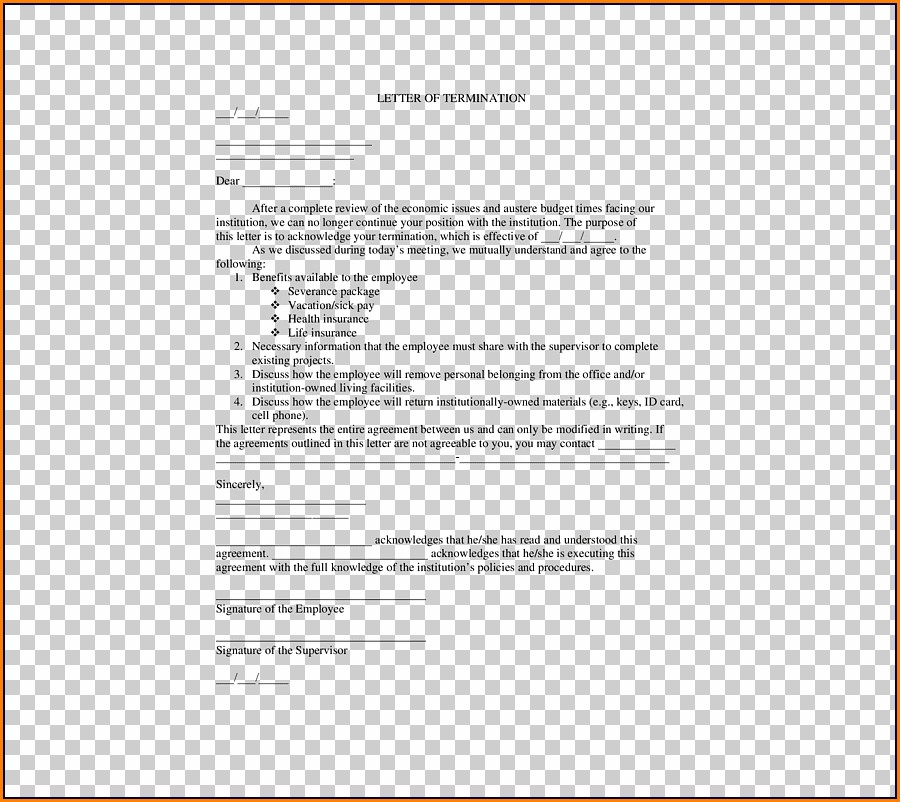 Termination Of Employment Contract Letter Template