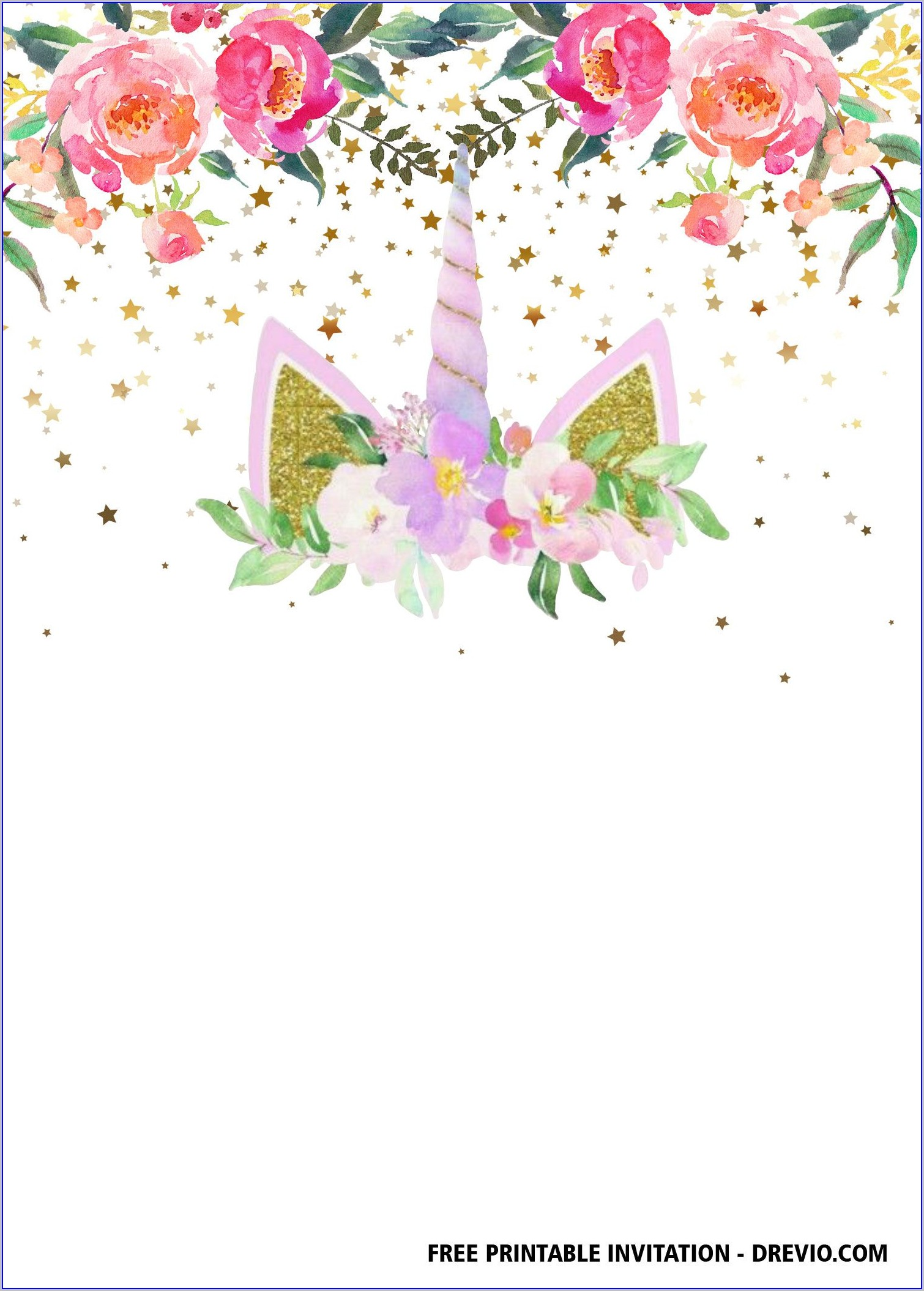 Unicorn Birthday Invitations Templates Free