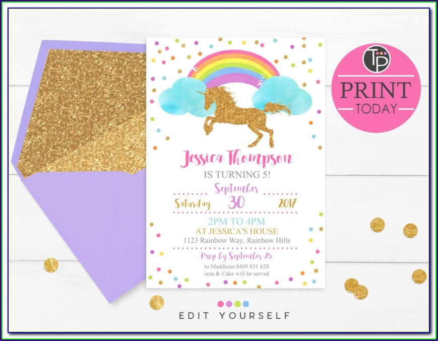 Unicorn Invitation Template Editable