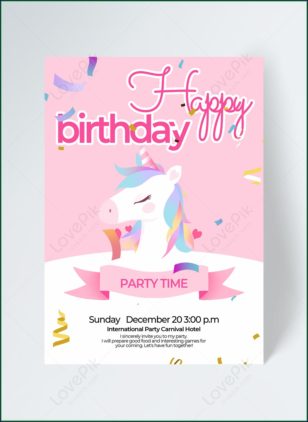 Unicorn Invitation Template Free Download