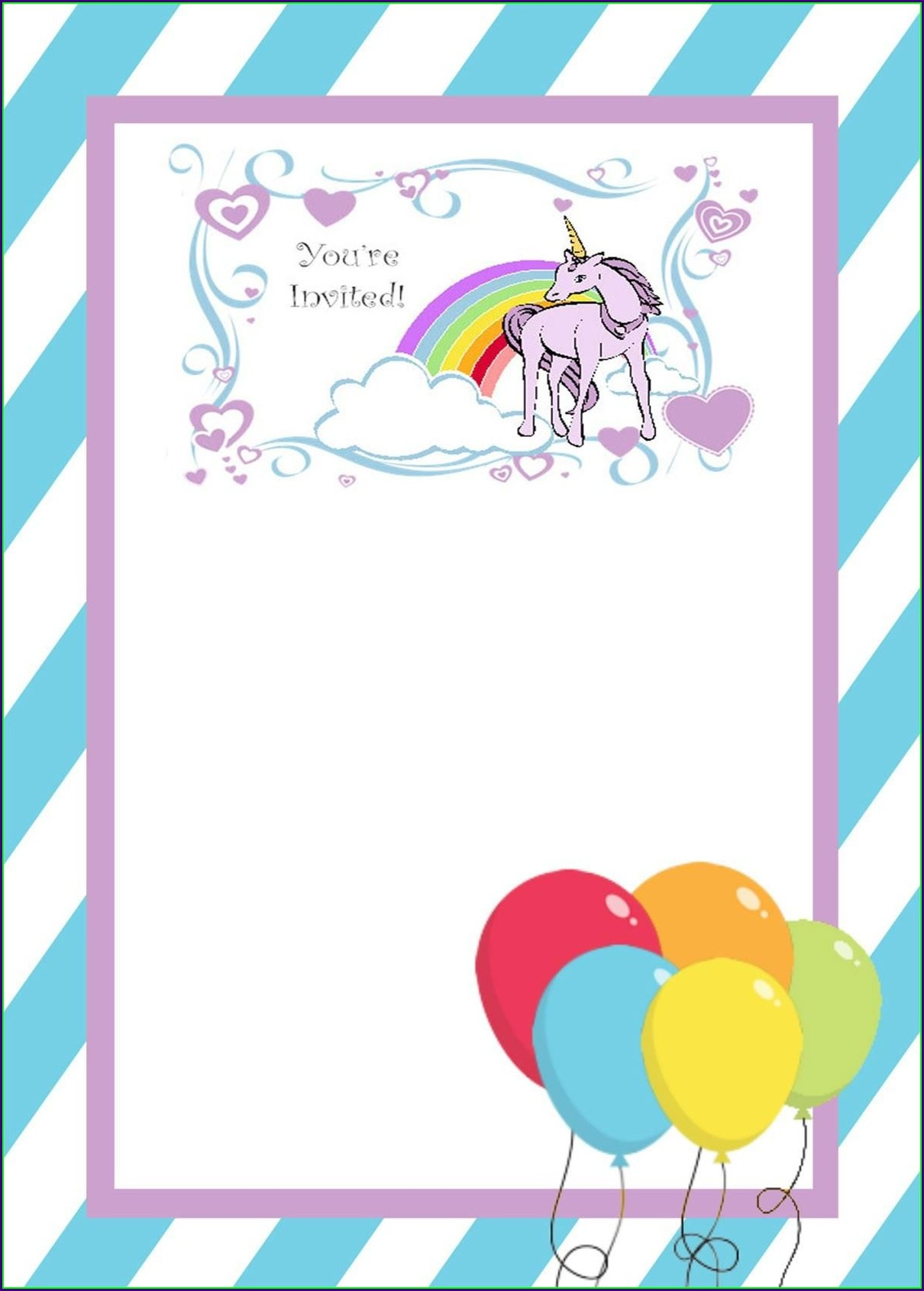 Unicorn Invitation Template Hd