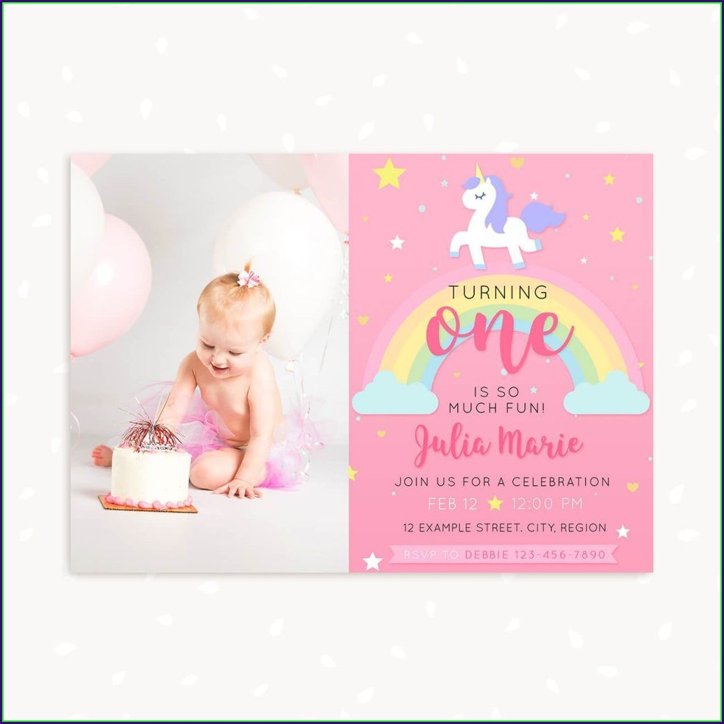 Unicorn Invitation Template With Photo