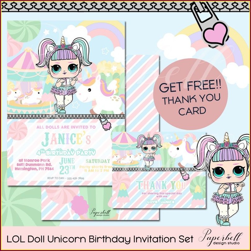 Unicorn Lol Doll Invitations
