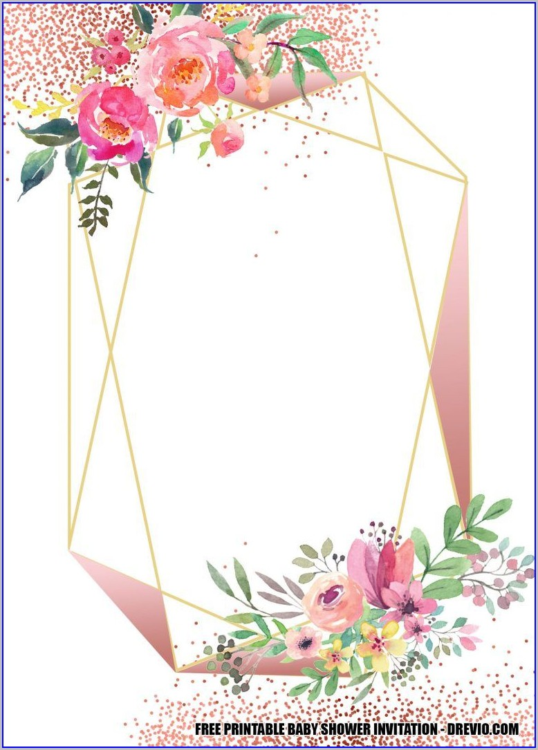 Wedding Invitation Templates Geometric Floral Frame Free