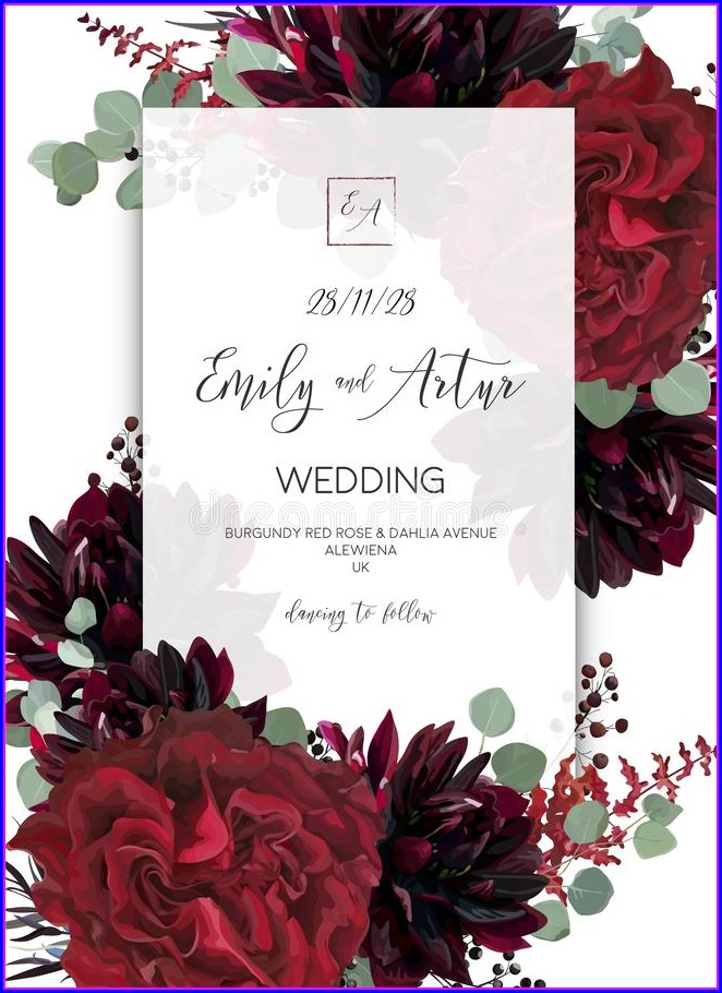 Wedding Invitations Frame Burgundy Floral Border