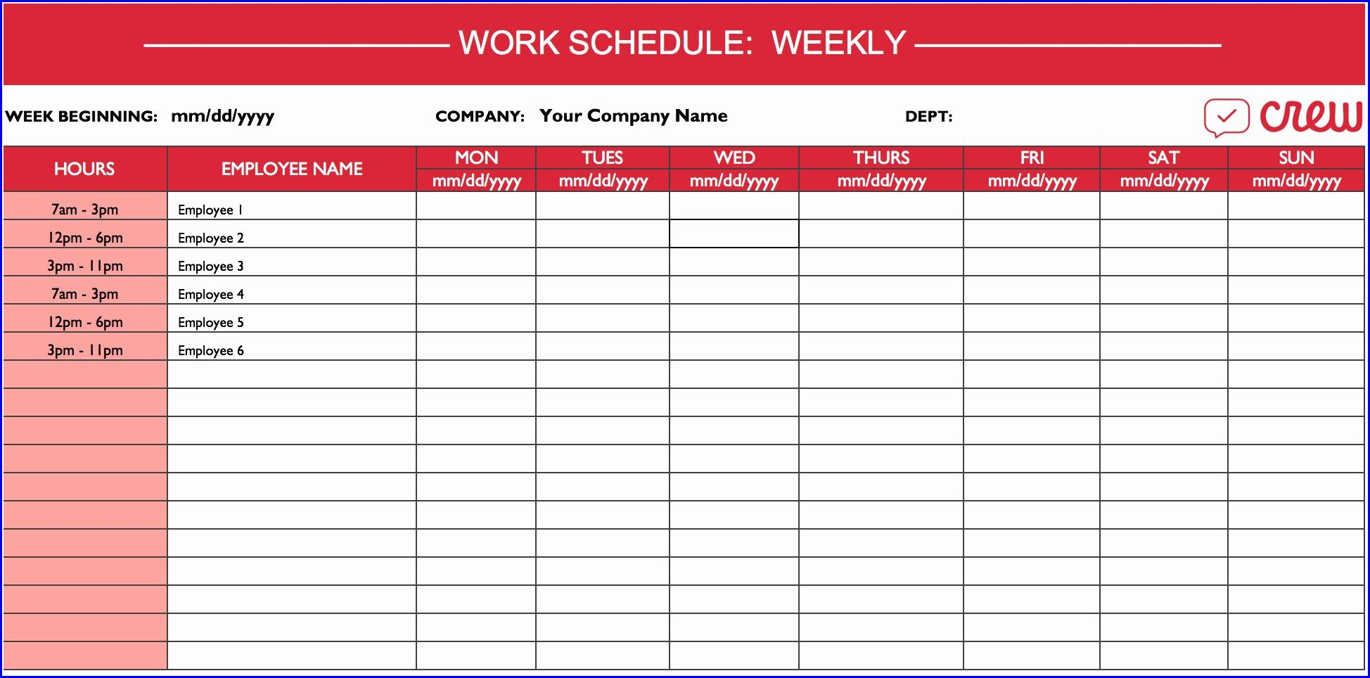 Weekly Daily Work Schedule Template