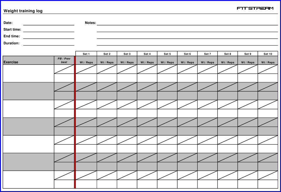 Weight Training Log Template Pdf