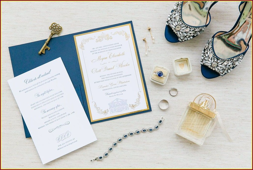 White And Royal Blue Wedding Invitations