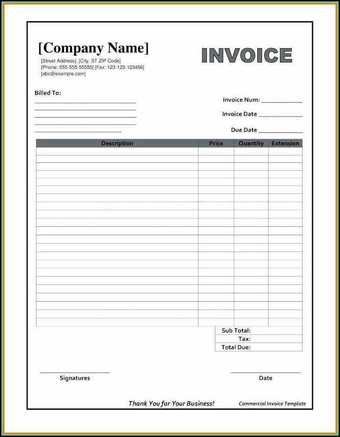 Word Document Blank Invoice Template Word Free Download