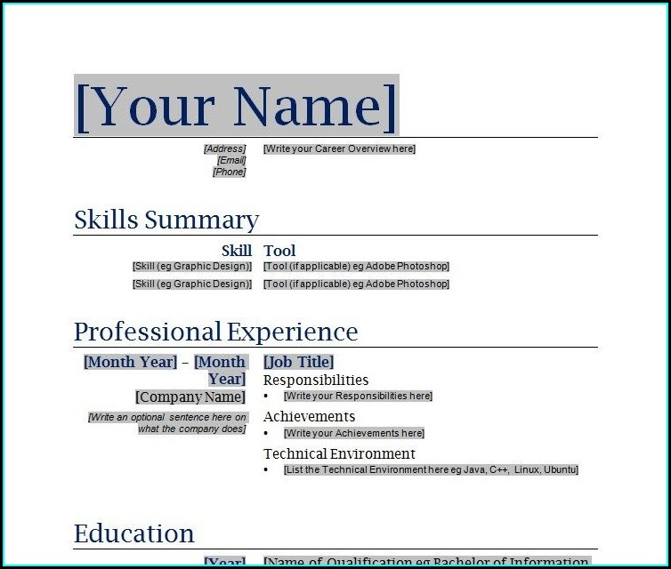 Word Document Download Word Document Simple Resume Format Word