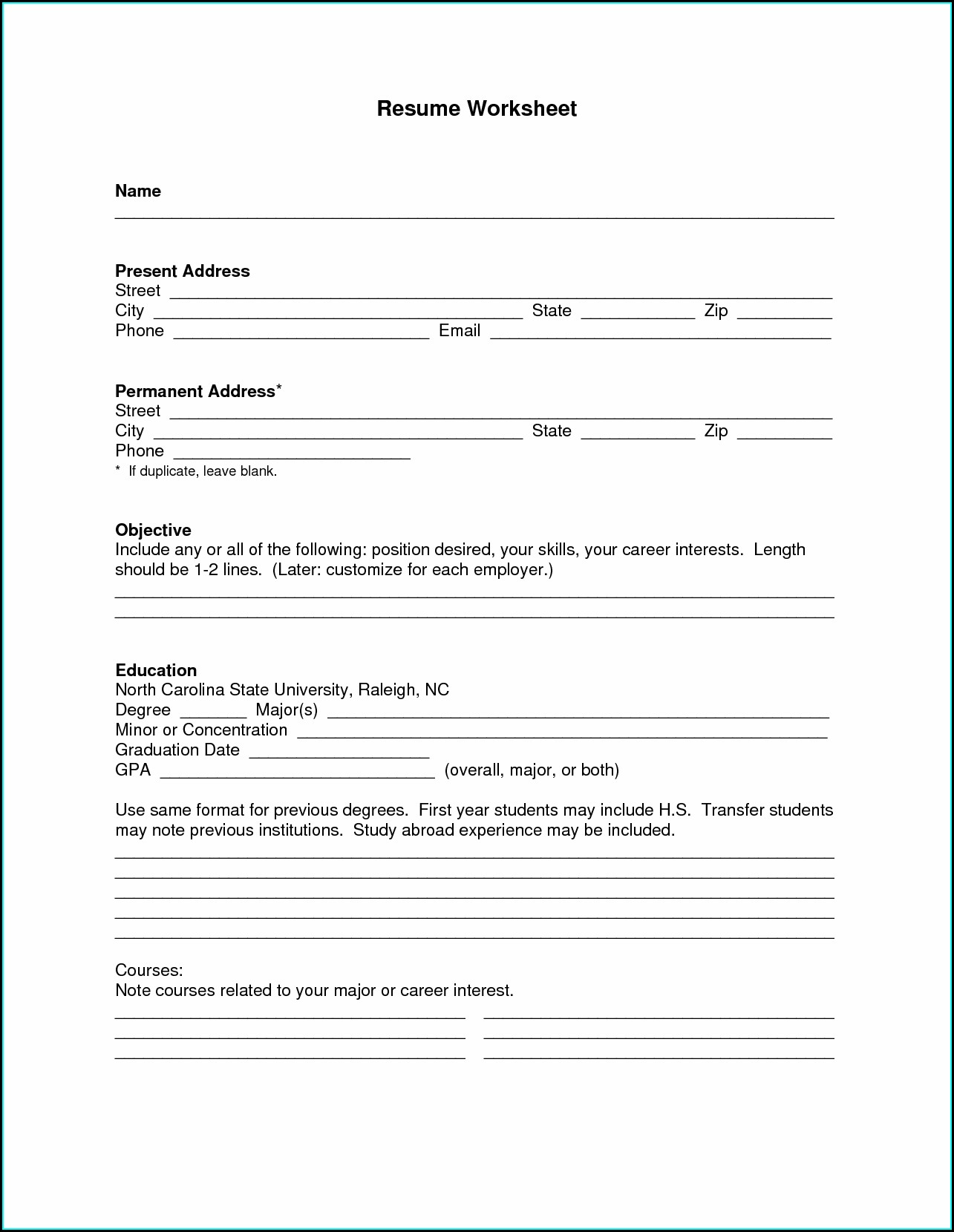 Word Document Downloadable Blank Resume Template