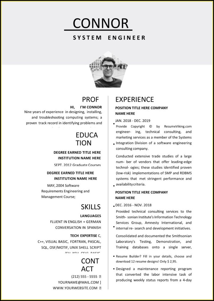 Word Document Editable Resume Template Free Download