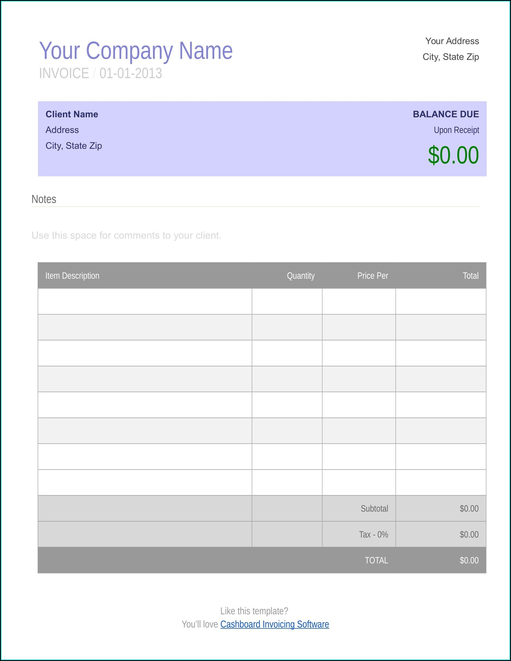 Word Document Free Blank Invoice Template Word