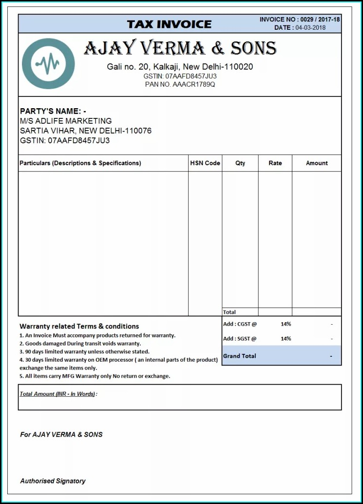 Word Document Gst Invoice Format In Word