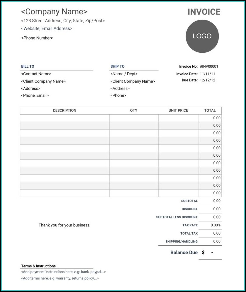 Word Document Invoice Template Word Doc