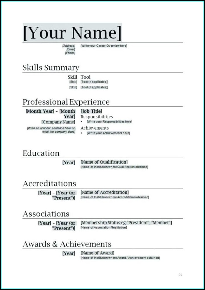 Word Document Layout Resume Templates