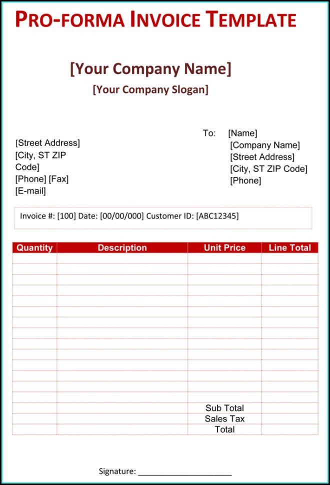 Word Document Proforma Invoice Format In Excel
