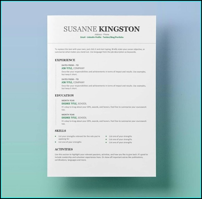 Word Document Resume Templates Free
