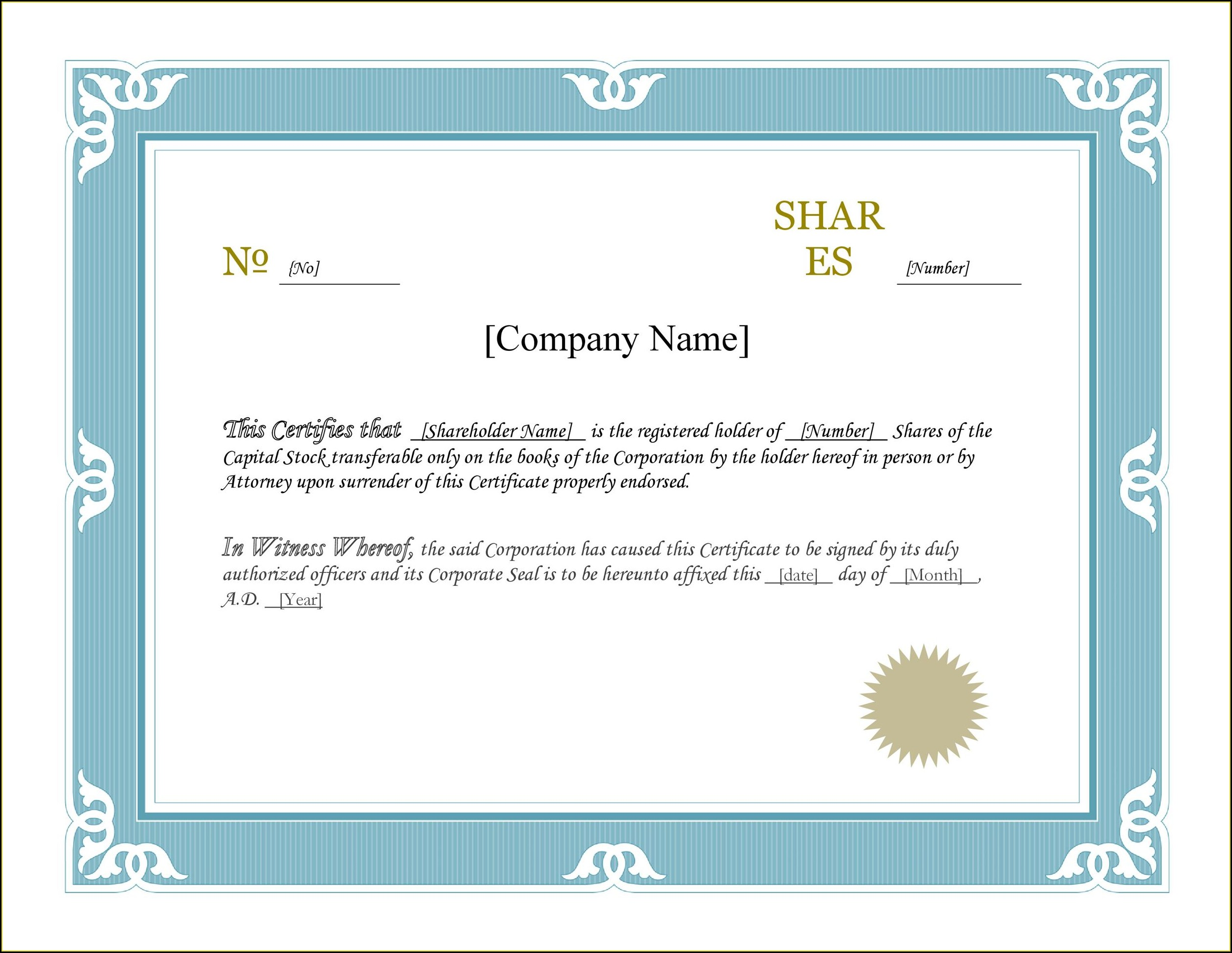 Word Document Stock Certificate Template