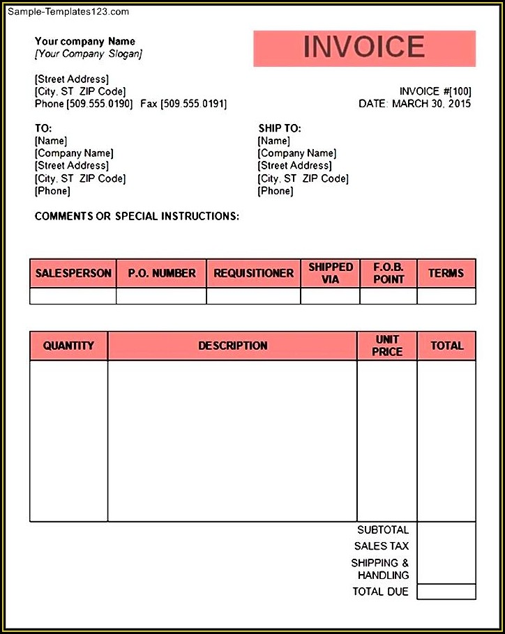 Word Document Word Invoice Template Uk