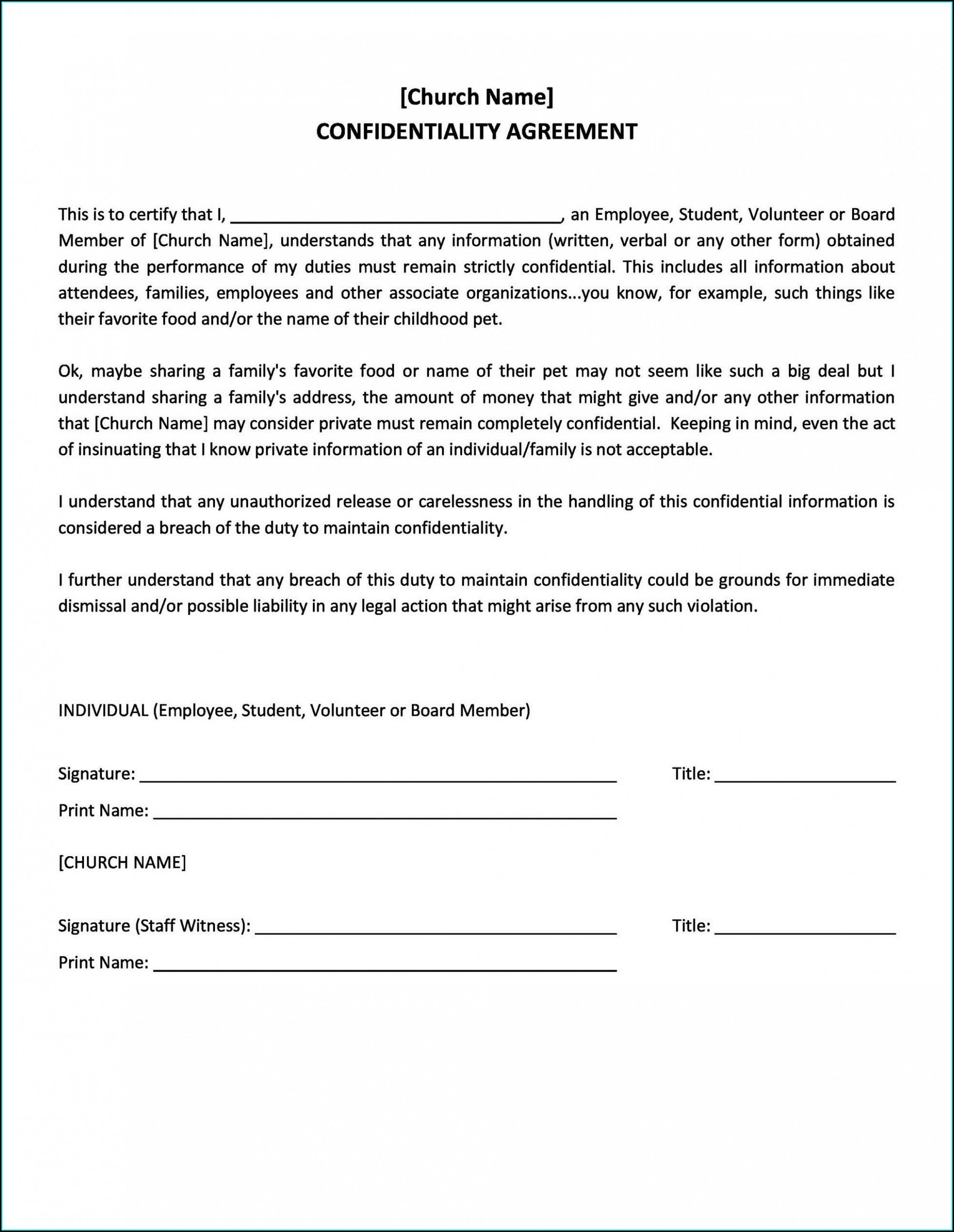 Word Employee Confidentiality Agreement Templates