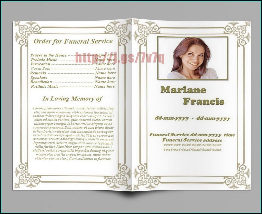 Word Funeral Program Template Free