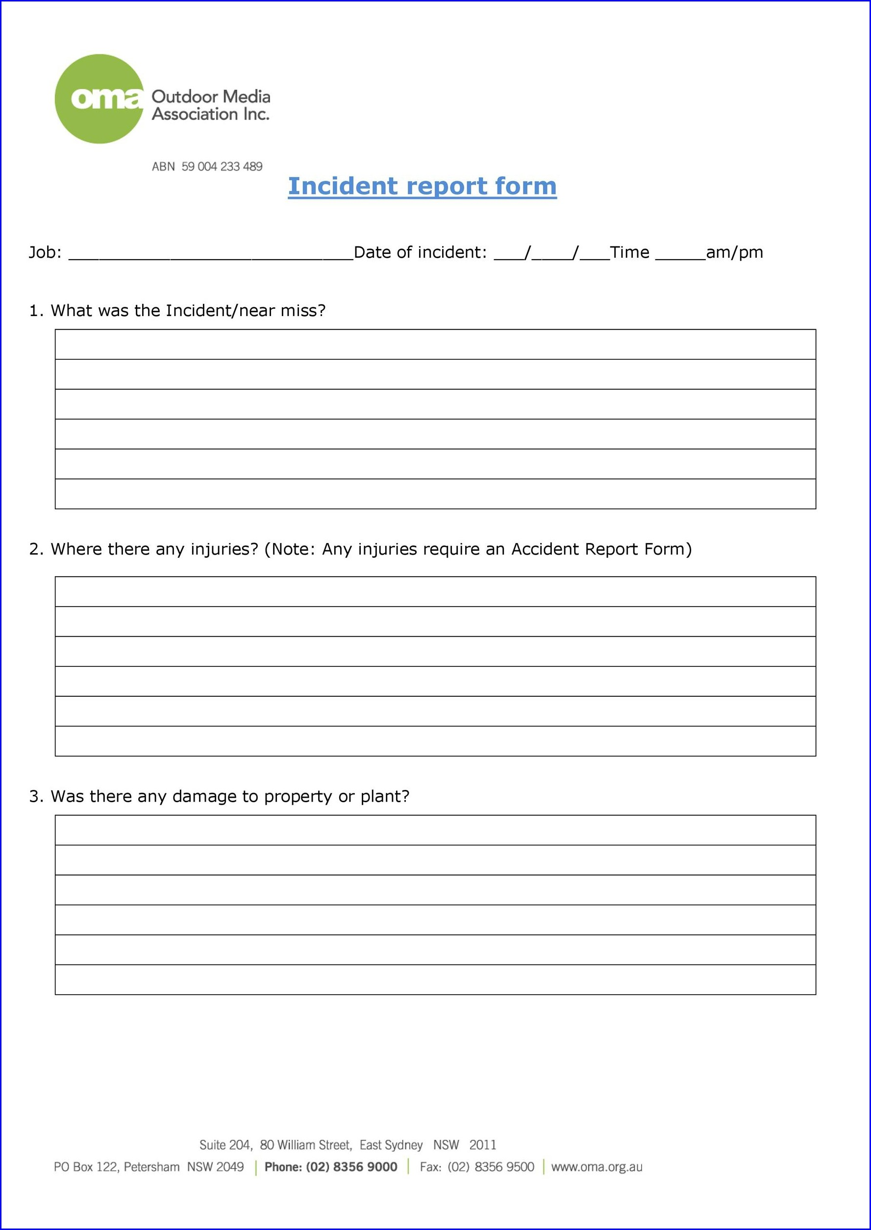 Word Printable Workplace Accident Report Form
