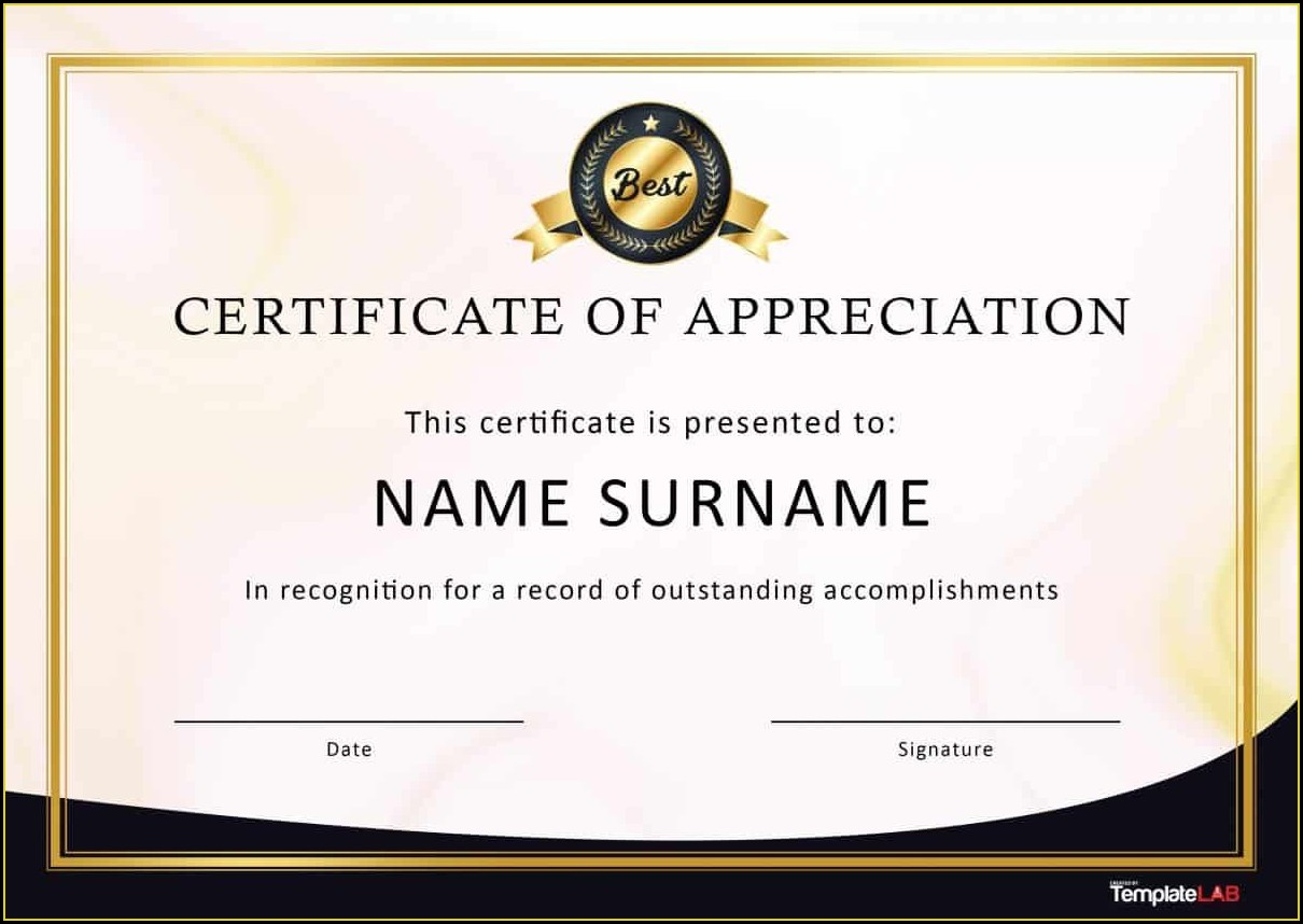 Word Templates Certificate Of Appreciation