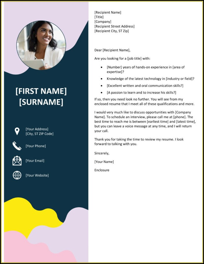 Word Templates Cover Letter For Resume