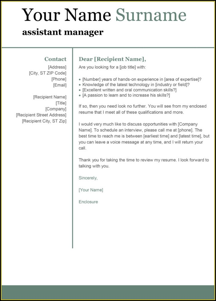 Word Templates For Cover Letter For Resume