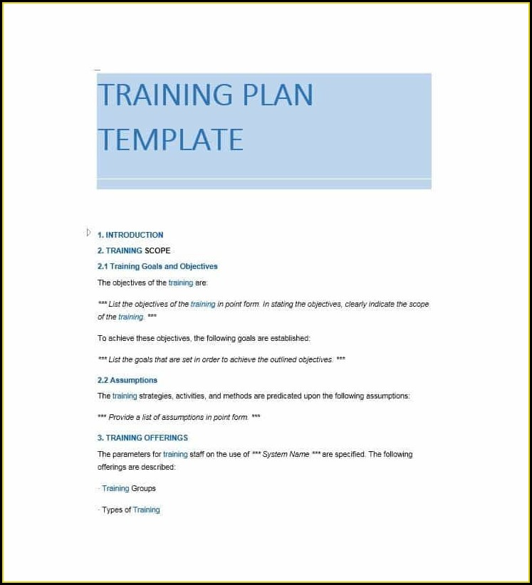 Word Templates For Training Manuals